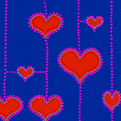 Valentine Hearts in a Line - Large Scale