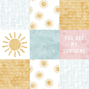 You are my sunshine wholecloth - suns patchwork - pink and gold - LAD20