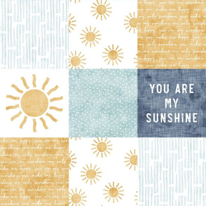 You are my sunshine wholecloth - suns patchwork -  blue and gold - LAD20