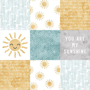 You are my sunshine wholecloth - suns patchwork -  face - grey, blue, and gold  - LAD20