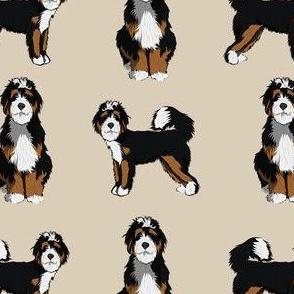 bernedoodle dog fabric - doodle dog, doodle dog fabric, dog fabric - tan