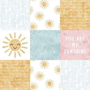 You are my sunshine wholecloth - suns patchwork - face - pink and gold - LAD20