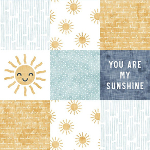 You are my sunshine wholecloth - suns patchwork - face - blue and gold - LAD20
