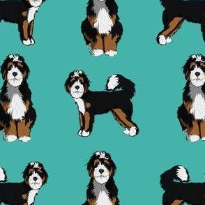 bernedoodle dog fabric - doodle dog, doodle dog fabric, dog fabric - teal