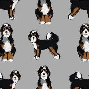 bernedoodle dog fabric - doodle dog, doodle dog fabric, dog fabric - grey