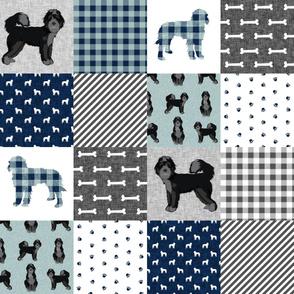 black bernedoodle cheater quilt - cheater quilt fabric, dog quilt, doodle dog - blue plaid