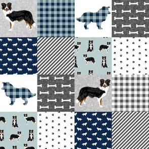border collie quilt fabric - dog quilt, cheater quilt, patchwork, wholecloth - tricolored - blue plaid
