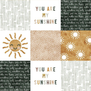 You are my sunshine wholecloth - multi - suns patchwork - face - dusty pink, green, gold  - LAD20