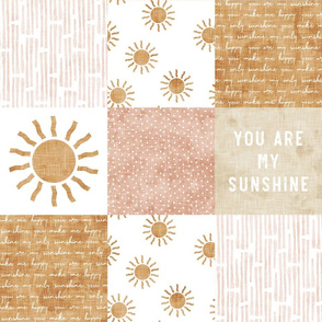 You are my sunshine wholecloth - suns patchwork - pink and tan - LAD20