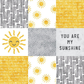 You are my sunshine wholecloth - sun patchwork - face - yellow and grey - LAD20