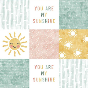 You are my sunshine wholecloth - multi - suns patchwork - face -  pink, teal, gold  - LAD20