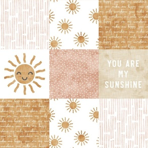 You are my sunshine wholecloth - suns patchwork - face - pink and tan - LAD20