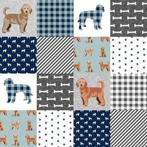 golden doodle cheater quilt fabric - dog quilt, cheater quilt, wholecloth, - blue plaid