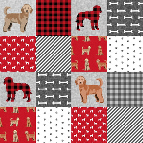 golden doodle cheater quilt fabric - dog quilt, cheater quilt, wholecloth, - red plaid