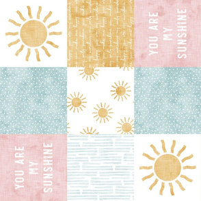 You are my sunshine wholecloth - suns patchwork - pink and gold (90) - LAD20