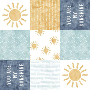 You are my sunshine wholecloth - suns patchwork -  blue and gold (90) - LAD20