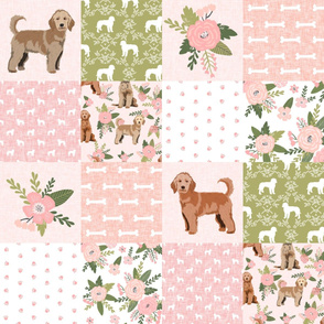 golden doodle cheater quilt - dog quilt, dog cheater quilt -peach floral