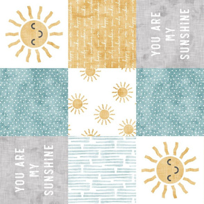 You are my sunshine wholecloth - suns patchwork -  face - grey, blue, and gold (90) - LAD20
