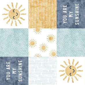 You are my sunshine wholecloth - suns patchwork - face - blue and gold (90) - LAD20