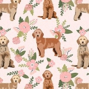 golden doodle floral fabric - dog fabric, dog florals - peach
