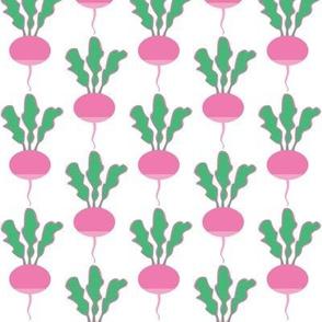 symmetrical pink radishes