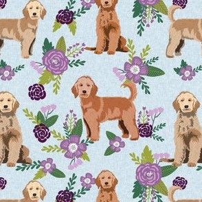 golden doodle floral fabric - dog fabric, dog florals -purple