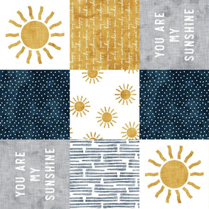 You are my sunshine wholecloth - suns patchwork - dark blue and grey - LAD20