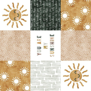 You are my sunshine wholecloth - multi - suns patchwork - face - dusty pink, green, gold (90) - LAD20
