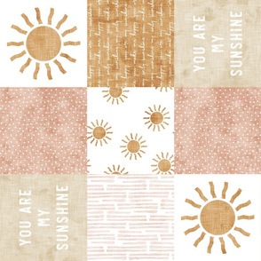 You are my sunshine wholecloth - suns patchwork - pink and tan (90) - LAD20