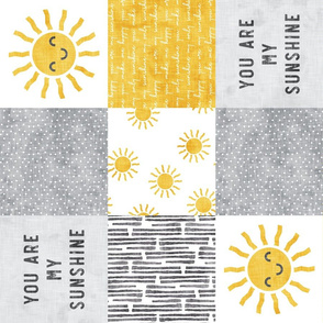 You are my sunshine wholecloth - sun patchwork - face - yellow and grey  (90) - LAD20