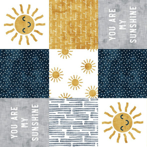 You are my sunshine wholecloth - suns patchwork - face -  dark blue and grey - LAD20