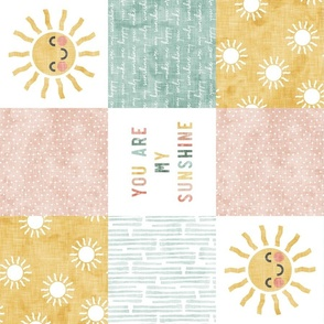 You are my sunshine wholecloth - multi - suns patchwork - face -  pink, teal, gold (90) - LAD20