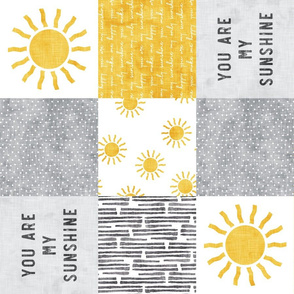 You are my sunshine wholecloth - sun patchwork - yellow and grey  (90) - LAD20