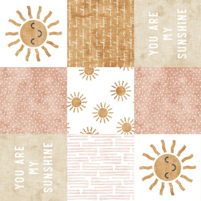 You are my sunshine wholecloth - suns patchwork - face - pink and tan (90) - LAD20