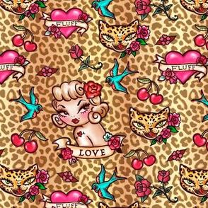 Small-Lady Leopard Tattoo Flash