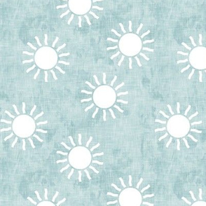(small scale) Sunshine - suns on blue - coordinate to blue and gold - LAD20