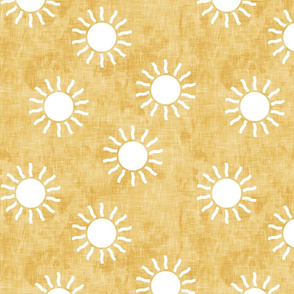 Sunshine - suns on light gold  - coordinate to pink, teal, and gold - LAD20