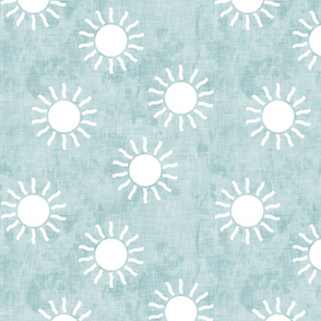 Sunshine - suns on blue - coordinate to blue and gold - LAD20