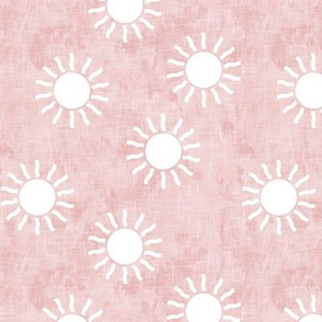 (small scale) Sunshine - suns on pink - coordinate to pink and gold - LAD20