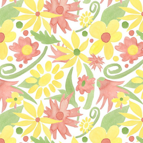 Yellow and coral new year watercolor flowers
