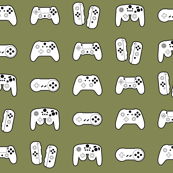 Game Controllers on Army Green