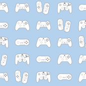 Game Controllers on Pastel Blue