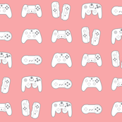 Game Controllers on Pastel Red Pink
