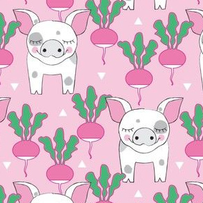 spotted pigs and radishes on pink