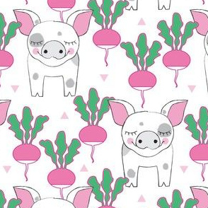 spotted pigs and radishes on white