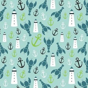 Maritime Icons Ditsy with Blue Lobsters and Green Anchors