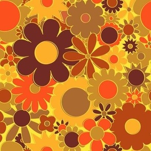 Funky Daisy Floral in Electric Orange