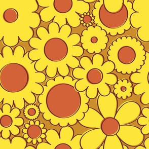 Groovy Daisy Floral in Goldenrod + Yellow