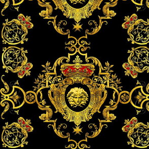 medusa gold flowers floral leaves leaf crown baroque victorian coat of arms heraldry crest  banners medals black royalty fleur de lis vines lily lilies fishes dragons insignia ornate frames gorgons Greek Greece mythology versace inspired