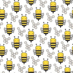 Bees Honeycomb Black&White Bright Yellow on White Smaller 1,5  inch